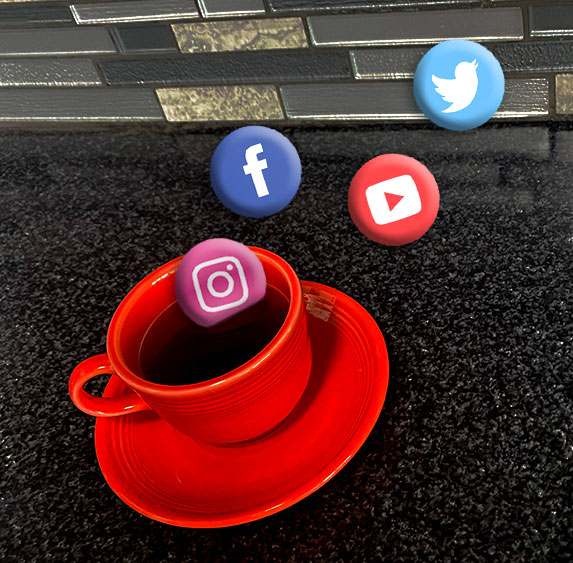 Coffee cup with social media icons