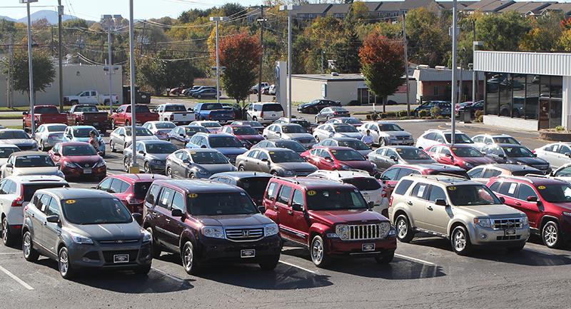 Used cars on a car dealership lot